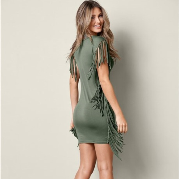 c2bfd985778 Fringe Trim Dress - Olive Green. M 5ab80e87077b970d0832949b